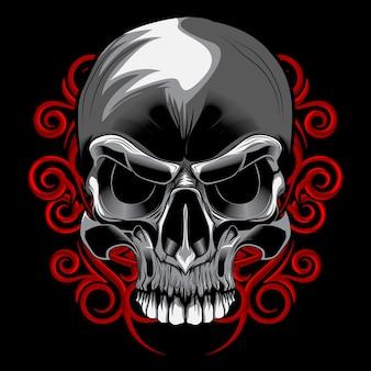 Skull spiral floral vector