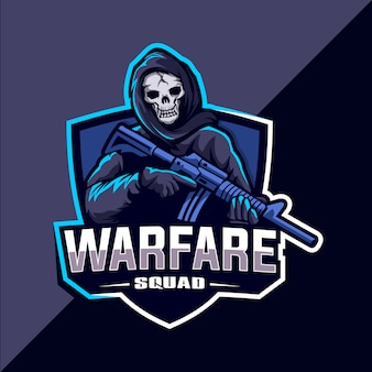 Skull squad with gun mascot esport logo