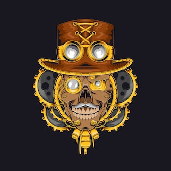 Skull steampunk  illustration