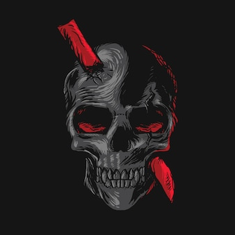 Skull stuck illustration
