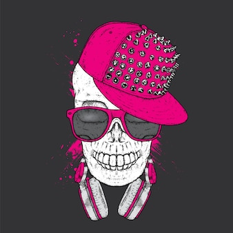 Skull in a stylish cap and headphones.