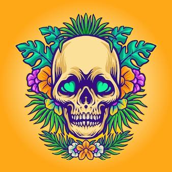 頭蓋骨の夏とエキゾチックな熱帯の花
