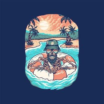 Летняя пляжная футболка с черепом, рисованная линия в стиле цифрового цвета, иллюстрация