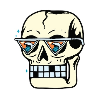 Skull summer beach wave finder illustration