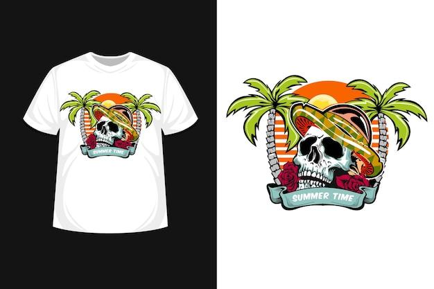 頭蓋骨の夏の時間イラスト t シャツ デザイン スカル ビーチ