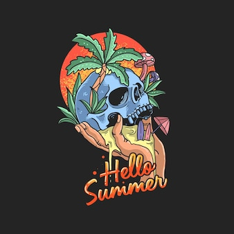 해골 여름 열대 해변 삽화
