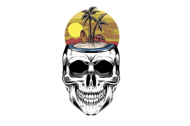 ビーチでココナッツと頭蓋骨の夏の手描きイラスト