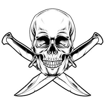 Дизайн иллюстрации меч черепа