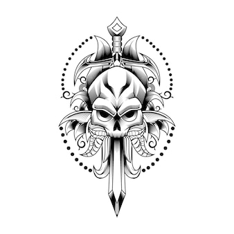 Skull sword and leave vector illustration art for tattoo