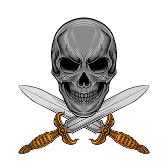 Skull sword vector