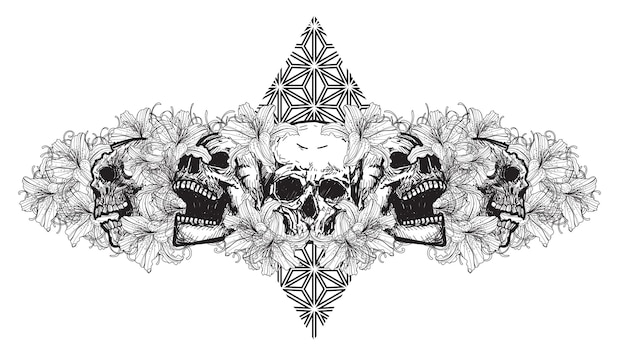 Череп тату искусство с цветами рисунок эскиз черно-белый