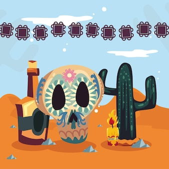Skull tequila and cactus