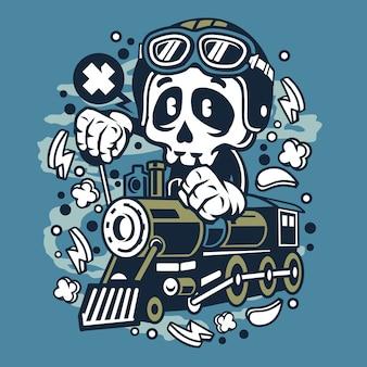 Skull train cartoon