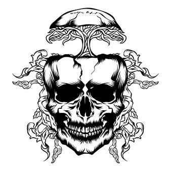 Skull and tree roots vector illustration