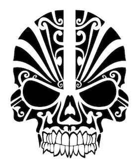 Skull tribal mask tatoo