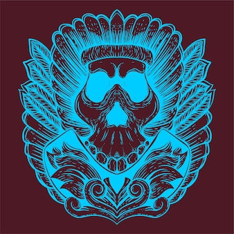 Skull tribe with feather accessories