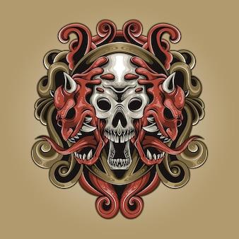 해골 쌍둥이 악마 다채로운 그림