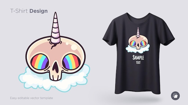 Skull unicorn with rainbow eyes tshirt design print for clothes posters or souvenirs