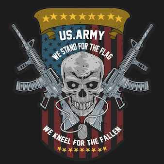 Skull usa american soldier with weapon and usa flag