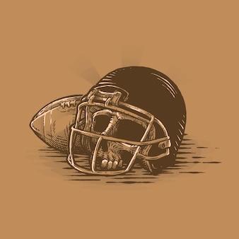 Skull using helmet beside football ball vintage illustration