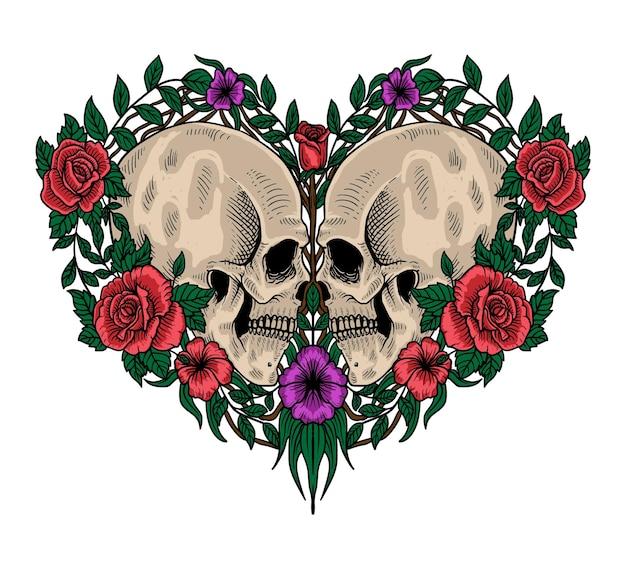 해골 발렌타인 고립 된 그림