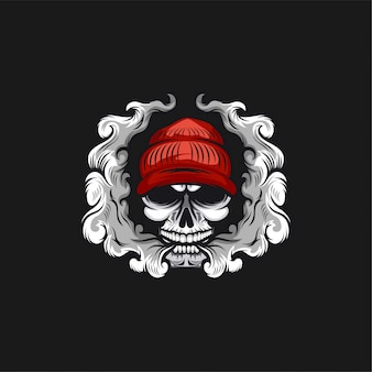 Skull vape logo design illustration
