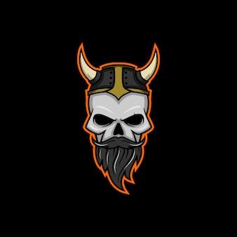 Логотип skull viking Premium векторы