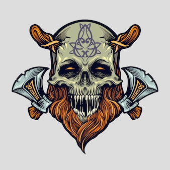 Skull viking warrior with axe for logo