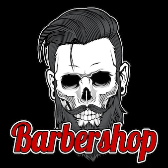 Skull vintage barber shop logo design
