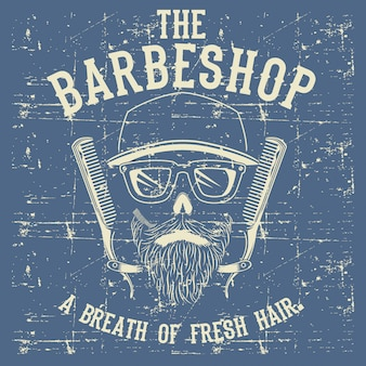 Skull vintage barber shop logo template illustration clip art