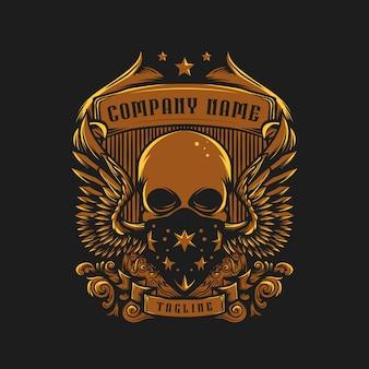 Skull vintage old logo vector