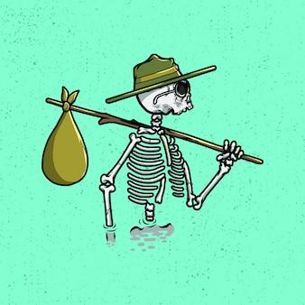 Череп блуждает от стиля иллюстрации для товаров