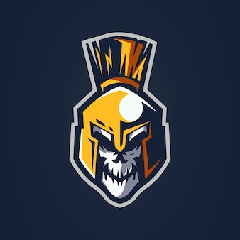 Логотип талисмана воина черепа