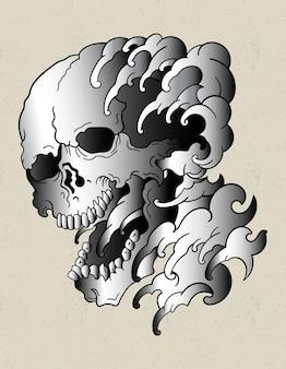 頭蓋骨の波日本の入れ墨