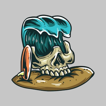 Skull waves and surf premium vector