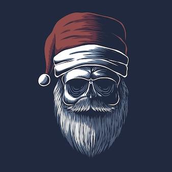 クリスマスにサンタの帽子をかぶった頭蓋骨