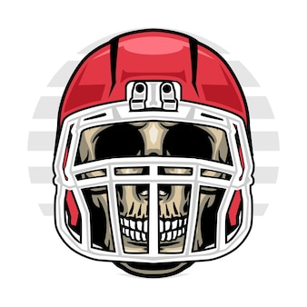 Skull wearing american football helmet
