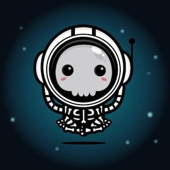 The skull wearing astronaut costume is meditating