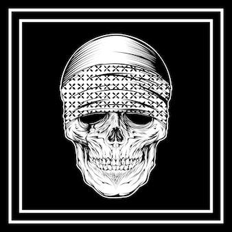 Skull wearing bandana hand drawing