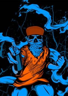 Skull wearing bandana and hat holding spray paint graffiti