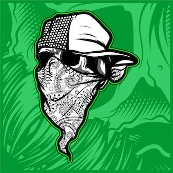 Skull wearing bandana wit cap