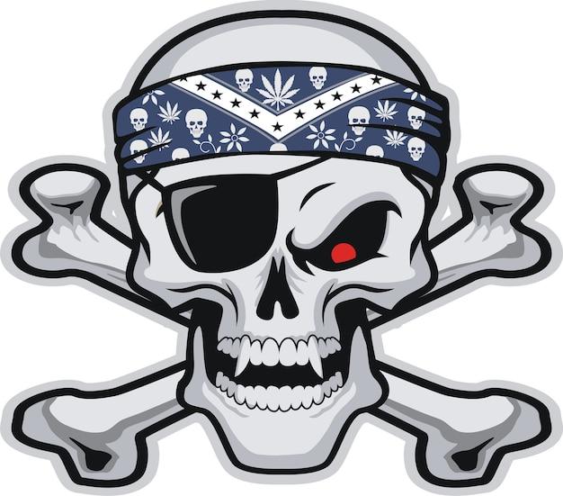 Skull wearing  bandanas