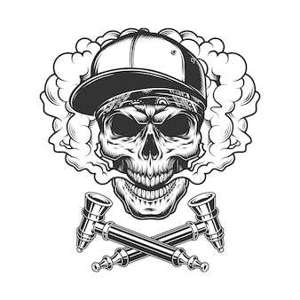 Skull wearing baseball cap and bandana