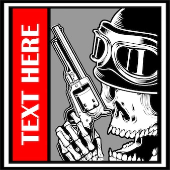 Skull wearing cap handling gun vector