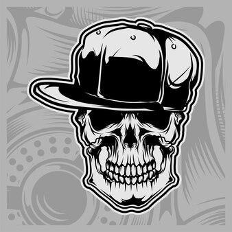 Skull wearing cap vector