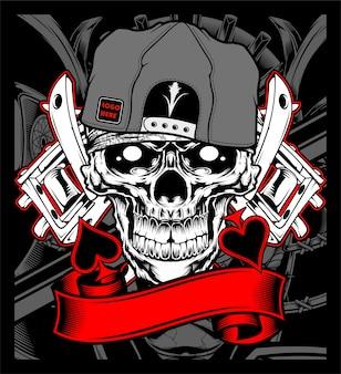 Skull wearing cap with tattoo machine vector