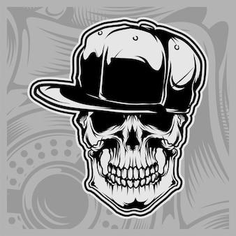 Skull wearing cap
