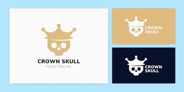 王冠のロゴのテンプレートを身に着けている頭蓋骨