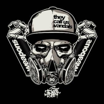 Skull wearing gas mask for graffiti logo