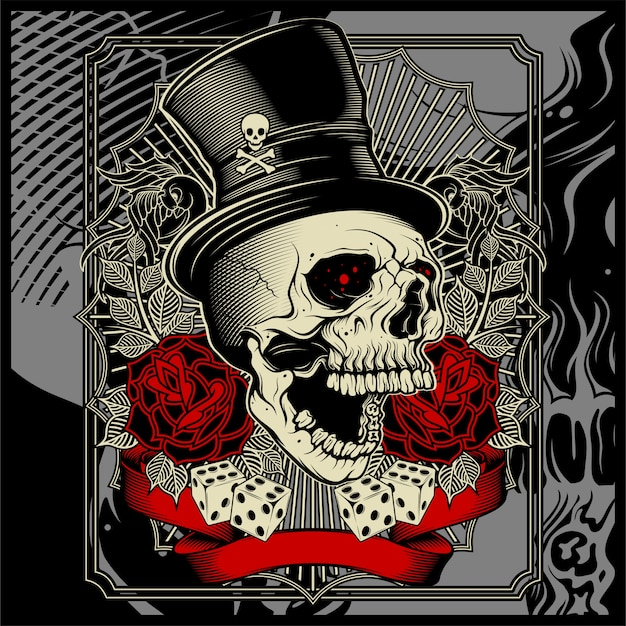 Skull wearing hat and dice rose decoration -